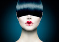Model girl with trendy fringe high fashion portrait Royalty Free Stock Photos