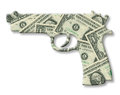 Model of a gun with money dollar texture isolated on white Stock Images