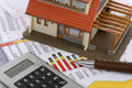 Model house and calculator Royalty Free Stock Image