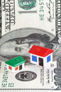 Model houses, dollar banknote Stock Photo