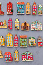 Model houses magnets on display Stock Images