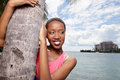 Model hugging a tree stock image of beautiful african american Stock Images
