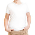 Model kid in t shirt or tshirt isolated on white cropped Stock Images