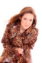 Model in leopard  coat Royalty Free Stock Images
