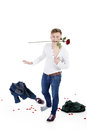Model man with roses rose in mouth Royalty Free Stock Photos
