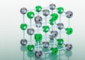 Model molecular structure green reflective background Stock Photography