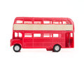 Model of old english bus white background Stock Photo