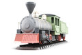 Model of old steam locomotive  on white background. 3d r Royalty Free Stock Photo