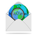 Model planet earth magnifying glass envelope white background designers various necessities Royalty Free Stock Image