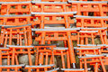Model of red japanese gates little wooden torii gate at fushimi inari shrine photo taken on april Royalty Free Stock Photography