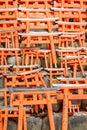 Model of red japanese gates little wooden torii gate at fushimi inari shrine photo taken on april th Stock Photo