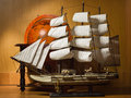 Model sailing ship and old globe Royalty Free Stock Photo