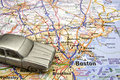Model sedan road map boston ma Royalty Free Stock Image