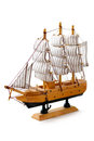 Model ship on white background toy a Royalty Free Stock Photos