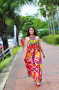 Model showcasing vibrant and luxurious designs by camilla with wattletree during singapore yacht show fashion event april Royalty Free Stock Photos