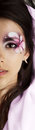 Half face of beautiful professional model,girl with profesional makeup Royalty Free Stock Photo