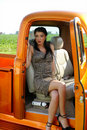 Model sitting in the truck Royalty Free Stock Photo