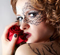 Model with skew bodyart Stock Photography