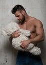 Model with teddy bear Royalty Free Stock Photo