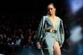 Model walk runway for BELLA POTEMKINA catwalk at Spring-summer 2017 Mercedes-Benz Fashion Week Russia. Royalty Free Stock Photo