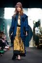 Model walk runway for IGOR GULYAEV catwalk at Fall-Winter 2017-2018 at Mercedes-Benz Fashion Week Russia. Royalty Free Stock Photo