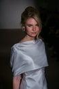 A model walks the runway at the Anna Maier / Ulla-Maija Couture Bridal Spring/Summer 2016 Runway Show