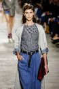 A model walks the runway during the Dries Van Noten show Royalty Free Stock Photo