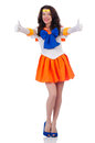 Model wearing sailor moon suit isolated on white stock photography concept for usage Royalty Free Stock Photo