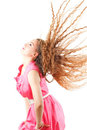 Model woman shaking head with long hair Stock Photo