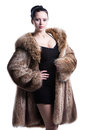 Model woman standing in pose wearing luxury winter fur coat and black short dress shot in studio isolated on white Stock Image