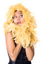 Model wrapped in yellow feather boa Royalty Free Stock Image