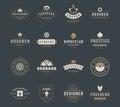 Modelli d annata di progettazione del logos messi elementi di progettazione di vettore logo elements Immagine Stock Libera da Diritti