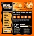 Modello arancione e nero di Web site del Internet Fotografia Stock