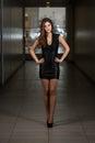 Modello di moda wearing black dress Fotografia Stock Libera da Diritti