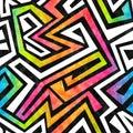 Modello senza cuciture del labirinto dei graffiti con effetto di lerciume Fotografia Stock