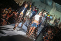 Models walk the runway finale after the DSquared2 show as part of Milan Fashion Week Royalty Free Stock Photo
