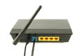 Modem broadband with telephone cable plugged in and ethernet cable in the background Royalty Free Stock Photography