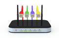 Modem router one with network cables d render Stock Photography