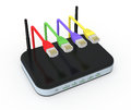 Modem router one with network cables d render Royalty Free Stock Photo