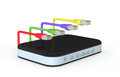 Modem router one with network cables d render Royalty Free Stock Images