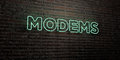 MODEMS -Realistic Neon Sign on Brick Wall background - 3D rendered royalty free stock image