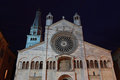 Modena cathedral at night the duomo facade italy Stock Photography