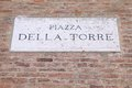 Modena italy emilia romagna region square name sign piazza della torre Stock Photo