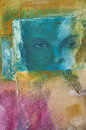 Modern abstract acrylic painting with a human face