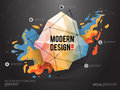 Modern abstract background with paint spot and geometric gemstone. Vector design layout for business presentations, web