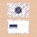 Modern abstract and clean business card template on striped background. Flat design. Royalty Free Stock Photo