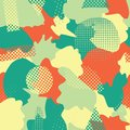Modern abstract shapes seamless vector background. Turquoise, teal, green, yellow, and orange camouflage shapes layered. Doodle