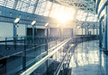 Modern airport interior glass wall Royalty Free Stock Photo