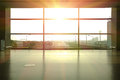 Modern airport interior glass wall aisle window Royalty Free Stock Photo