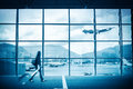 Modern airport scene Royalty Free Stock Photo
